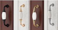 Wholesale European pastoral style white Ceramic handle drawer handle cabinet handle ambry drawer cupboard door knob Retail
