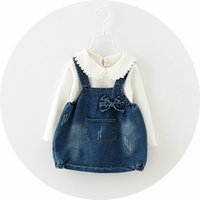 boutique clothes - girls outfits T shrit suspender denim dress set children boutique clothing Autumn years baby girls pieces set