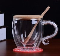 Wholesale Mug Coffee Cup Lid Spoon Crystal with Diamond Double Glass Creative Cup
