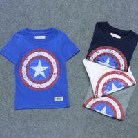 Wholesale Kids Captain America Print T Shirt Children Short Sleeve Cotton Shirts Boys Girls Sleepwear T Shirts Tops Wear Color LJJP09