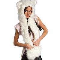animal hat gloves - Fashion Warm Winter Scarves Faux Animal Fur Hat Fluffy Scarf Shawl Glove Plush Cap Gloves Hats Xmas a2 Q1