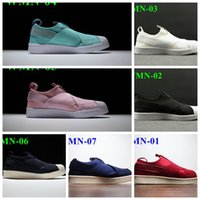 Wholesale 2016 Summer Men Women Superstar Slip On Shoes Unisex Loafers Head Crossed Strap Low Top Running Sneakers Black White Blue Green Pink Red