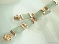Wholesale 2016 new of Peking China jade bracelet lt lt Natural Light Green Jade Yellow Gold Plated Fortune Link Clasp Bracelet