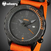 aviator watch straps - INFANTRY Men Quartz Watches Orange Durable Nylon Strap Wristwatches Aviator Military Sport Watches Male Clocks Relogio Masculino