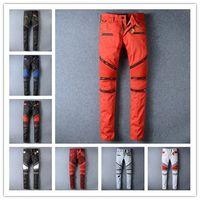 Wholesale 2016 Crystal Robin Zipper Jeans Men Classic Biker Jeans Wash Studded Cowboy Slim Denim Trousers with Wings American Flag Jean Mens Skinny Pa