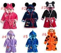 Wholesale cartoon Bathrobe sleepwear Soft Warm Baby Girl Kids Boy Night Bath Robe Fleece Homewear Pajamas Clothing hot sale