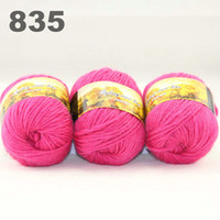 Wholesale colorful hand knitted wool line segment dyed coarse lines fancy knitting hats scarves thick line Pink