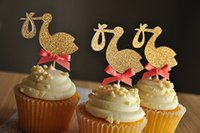 baby shower storks - Gold Stork cupcake toppers inserts cards food picks wedding baby bridal shower Cake Accessories decorations