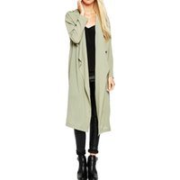 Wholesale Long sleeve asymmetric trench coats for womens spring fall midi length trench coats ladies loose oversized outwears plus size green tops