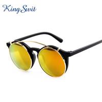 acrylic clip frames - KingSwit Vintage Steampunk Sunglasses Men Women Reflective Golden Lens Golden Frame Sun Glasses Clip on Eyeglasses KS310