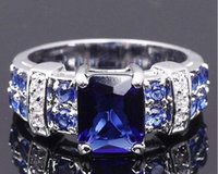 antique sapphire diamond ring - Sz Antique Fashion Jewelry Men Women Sapphire Topaz Gemstones Sterling Silver Wedding Ring Gift