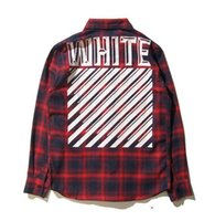 Wholesale 2016 Classic Streetboard Clothes Homme OFF WHITE Back Print Shirts Men Turn down Collar Plaid Casual Shirts
