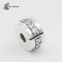 autumn path - 2016 New Autumn collection Shining Path Clear CZ clip charms sterling silver charm fit bead bracelet diy fine jewelry CH597