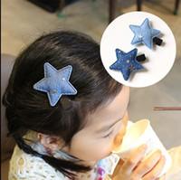 acc chemicals - Colors Fashion Metal Denim Stars Babies Hairpin Solid Star Girls Hair Clips Kids Hair Acc