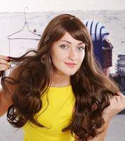 beauty bangs style - Machine making wig Women Long Curly Wavy Hair Wigs Side Bangs Heat Resistant Fiber Beauty Style Chemical fiber wig
