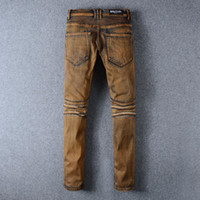 Wholesale Balmain balmai jeans NWT BP Men s Stylish Fashion Stretch distressed Slim oiled washed biker Jeans Size