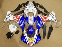 Wholesale 3 Free gifts New ABS Plastic Motorcycle Fairing Kit Fitment For Yamaha YZF R1 Injection blue red FIAT