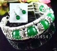 Wholesale Price Cheap beautiful handmade Tibet Tibetan silver green jade bracelet earrings Jewelry set Free Shiping