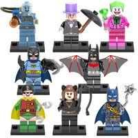 batman catwoman - 8pcs Super heroes building blocks Catwoman Batman Robin Joker Penguine Mister Freeze minifigures kids toys mini figures bricks X0111