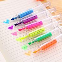 Wholesale Cute kawaii Fluorescent Syringe Watercolor Pens Highlighters Marker Pen Korean Stationery School Supplies