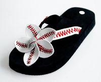Wholesale Ms summer white yellow softball rhinestone flip flop slippers sandals female beach motion slippers EVA non slip soles