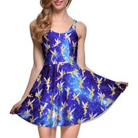 adult fairy dress - NEW Sexy Girl Women Summer Cartoon fairy Cute Blue spirit peri Girl D Prints Reversible Sleeveless Skater Pleated Dress