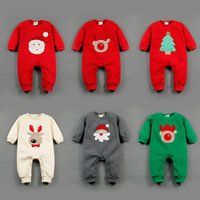 Wholesale 2016 new lint baby clothing winter section of the Christmas embroidery long sleeved thicker warm clothing Siamese clothes