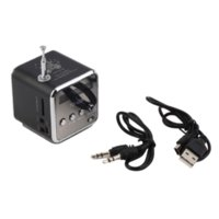 aluminum speaker wire - In stock black Aluminum alloy Portable Micro TF USB Mini Stereo Speaker Music Player FM Radio PC MP3