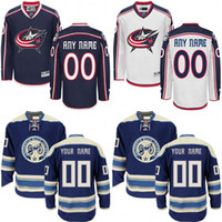 authentic jackets - Customize Columbus Blue Jackets Jerseys Authentic personalized Cheap Hockey Jerseys Any Number Name Embroidery Logos size S XL