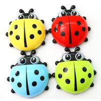 Wholesale Newest Cartoon Cute Ladybug Sucker Toothbrush Holder Suction Hooks Bathroom Set Colors PF