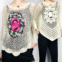 Wholesale Spring Blouse Flower - autumn   spring loose hollow-out mesh casual sweater long-sleeved pullover flower crocheted jersey blouse handwork knitwear
