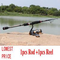 Wholesale 1 m Telescopic Carbon Fiber Fishing Rod with BB Spinning Fishing Reel Surf Spinning Fishing Pole Combo Carp Rock Rod Set