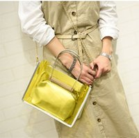 Wholesale 2 Pieces Transparent Plastic Zipper Messenger Bags Women Candy Color Jelly Beach Bag Cross Body Bags