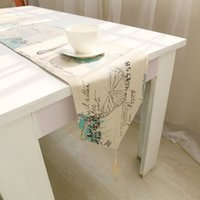 Wholesale Burlap Linen Vintage Frech Style Butterfly Rustic Home Decor table runner Size for choose