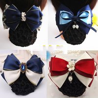 Wholesale 2016 Promotion Special Offer Gift Party Professional Headdress Flower Hairpin Flight Attendant Bank Nurses with Drill Net Blue More Bag Mail