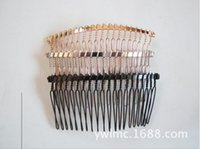 Wholesale 10 Silver Black Gold Tone Metal Hair Side Combs Clips X37mm for DIY Craft FOR WEDDING VEIL Hair Comb Clips Hair Findings Accessories