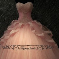 Wholesale 2017 New Design Coral Quinceanera Dresses Vestidos De Anos Pearls Tulle Beading Sweet Dress Pageant Cheap Ball Gowns Vestidos