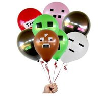 Wholesale Mincraft Pixelated Balloons Mixed Balloons Latex Balloon Party Decorations Red TNT Cow Pig Design Supplies Material Must Haves Kids In stock