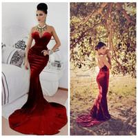 Wholesale Sexy Burgundy Velvet Mermaid Prom Dresses Slim Custom Made Backless Attractive Formal Evening Gowns Dubai Style