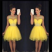al por mayor vestido de fiesta imperio amarillo-2016 Youthful Scoop amarillo vestidos de cóctel rebordeados Backless vestidos de fiesta de baile imperio vestido de regreso corto Mini