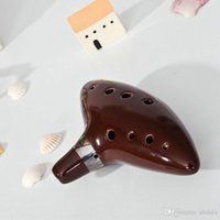 Wholesale 12 Holes Plastic Ocarina Flute Alto C Ceramic Ocarina Holes Glazed Flute Wind Musical Instrument Submarine Zelda of Time Beginners Tradit