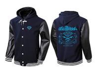 active diamond - 2017 New Brand Sweatshirt Men hip hop Hoodies Diamond Supply Solid Fleece Sports Suit Pullover Stitching leather sleeves Tracksuits Moleton
