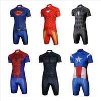 america cool - Customize Cool Superhero Cycling Wear Iron Man Batman Superman Captain America Spider Man Cycling Jersey short bike clothing set