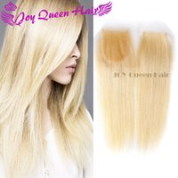 Cheap Vrigin Brazilian hair Blonde Lace Frontal Closure Remy 613 Russian European Human hair Silk Base Frontal lace closure 4x4 Straight weave