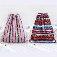 Wholesale Bohemian Drawstring Backpack Rucksack Boho Travel String Bag Summer Beach Bag