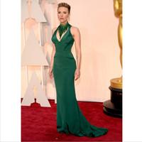academy award dresses - 2016 th Oscar Academy Awards Scarlett Johansson Green High Collar Beaded Sleeveless Srxy Mermaid Evening Dresses