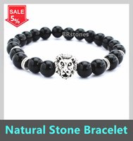 Wholesale Black Matte Agate Stone Bracelet Volcanic rocks beads bracelet Golden Lion Head Bracelet mm Beads