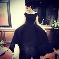 Cheap Sonam Kapoor in Ashi Studio Off Shoulder Cap Sleeve A line Long Black Evening Dress Elegant Saudi Arabia Prom Gowns 2016 Custom made