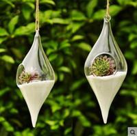 Wholesale 2016 New Olive Glass Hanging Vase Home Decoration