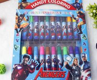 Wholesale creative frozen sofia first spiderman big hero KT The Avengers color water color pen handy coloring for kid school supplies kid gift